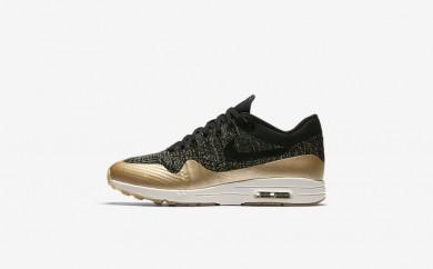 Η κα πάνινα παπούτσια Nike air max 1 ultra 2.0 flyknit women μαύρο/metallic gold star/flat opal/μαύρο 881195-021